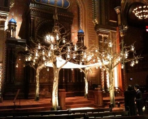 oak tree art at wedding with lights in tree covering alter